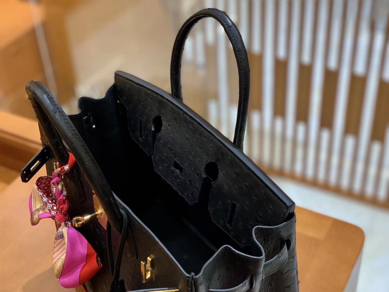 Hermès(爱马仕)Birkin 30 南非kk级鸵鸟皮 经典黑 金扣 原版蜜蜡线