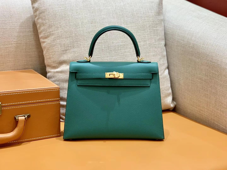 Hermès(爱马仕)Kelly 凯莉包 森林绿 Epsom皮 金扣 28cm