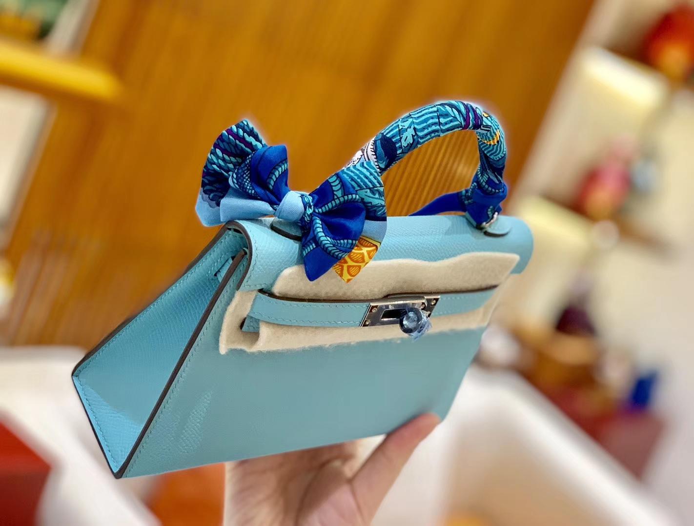 Hermès(爱马仕)Mini kelly 迷你凯莉 新增现货 微风蓝 掌纹小牛皮 臻品级别 银扣 19cm