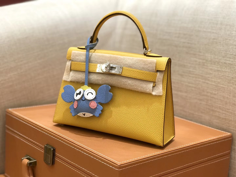 Hermès(爱马仕)mini Kelly 琥珀黄 银扣 德国进口掌纹皮 全手工缝制