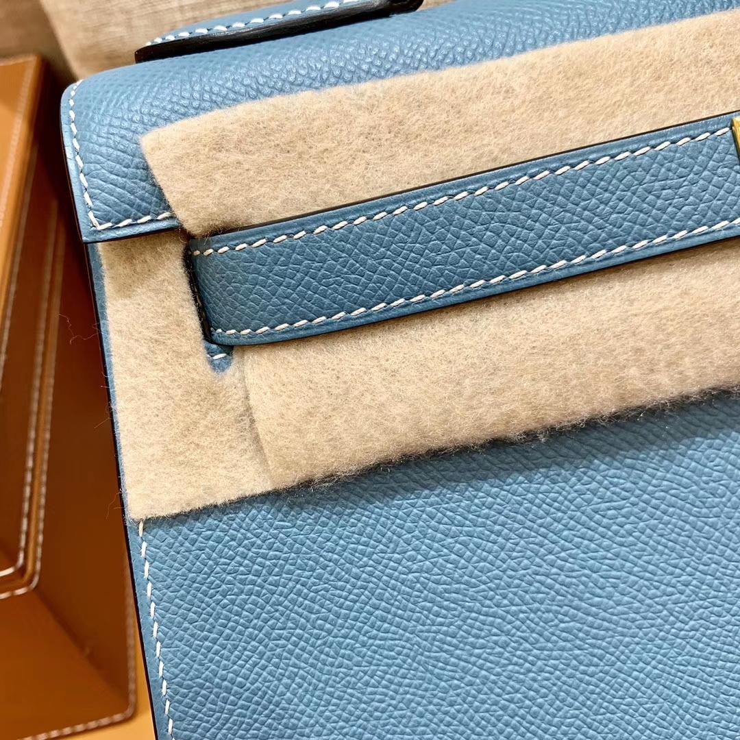 Hermès(爱马仕)Kelly 凯莉包 德国掌纹牛皮 牛仔蓝 鳄鱼皮工序高订版本 28cm