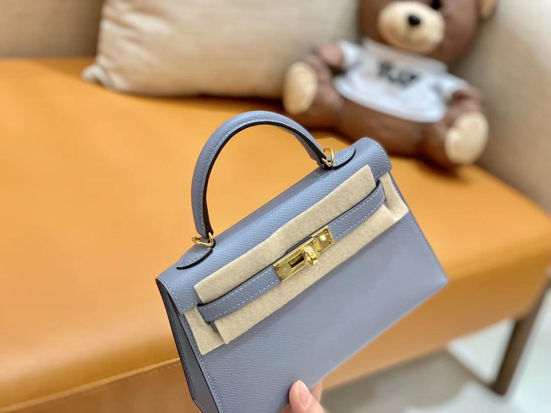Hermès(爱马仕)Mini kelly 迷你凯莉 新增现货 冰川蓝 掌纹小牛皮 臻品级别 金扣 19cm