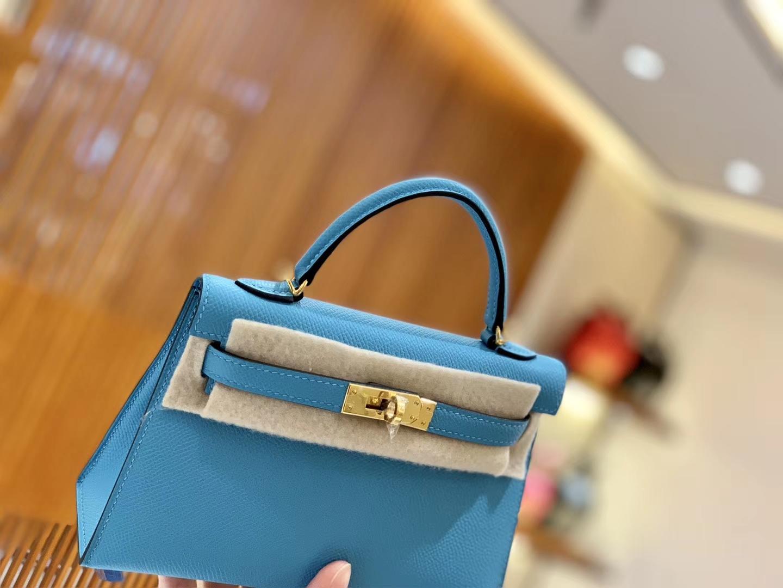 Hermès(爱马仕)Mini kelly 迷你凯莉 新增现货 北方蓝 掌纹小牛皮 臻品级别 金扣 19cm