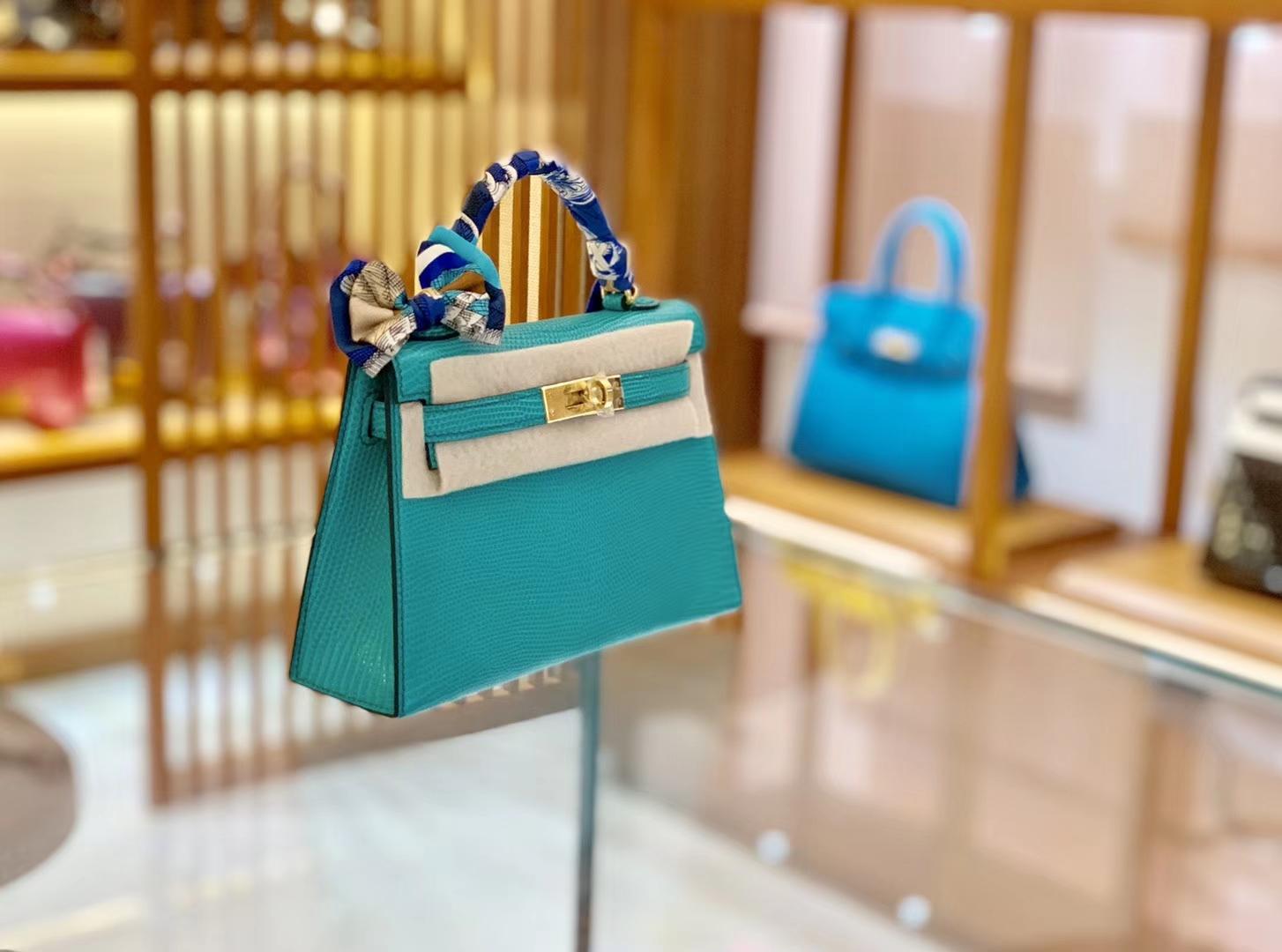 Hermès(爱马仕)Mini kelly 迷你凯莉 维罗纳绿 蜥蜴皮 臻品级别 金扣 19cm