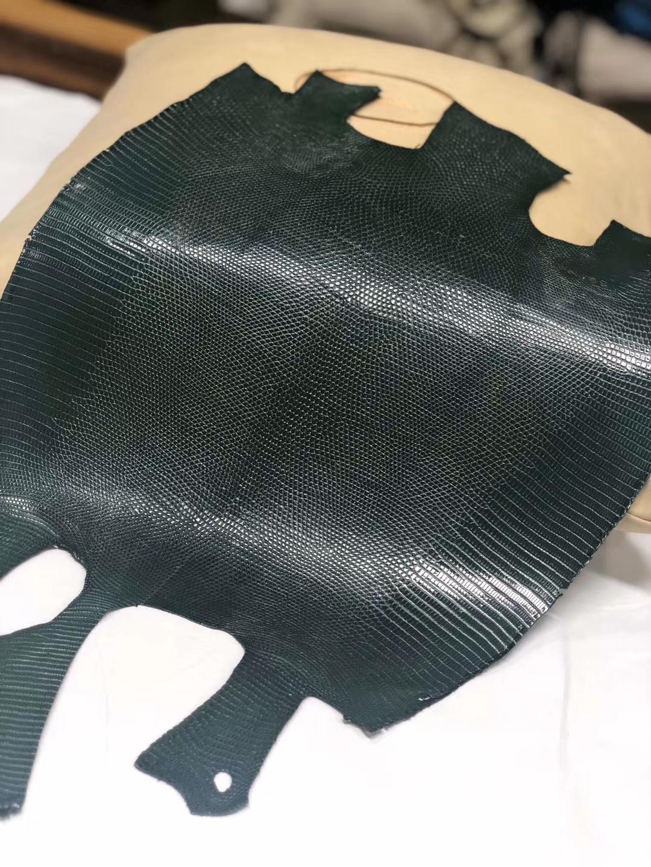 Hermès(爱马仕)新到皮料 Lizard 进口亮面蜥蜴 墨绿色
