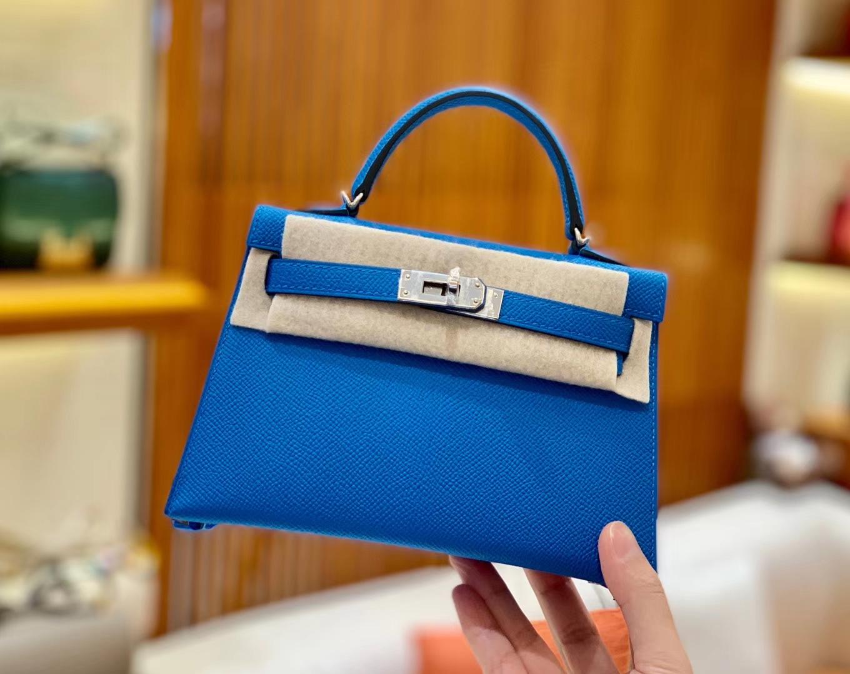 Hermès(爱马仕)Mini kelly 迷你凯莉 新增现货 坦桑尼亚蓝 掌纹小牛皮 臻品级别 银扣 19cm
