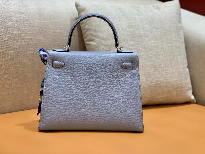 Hermès(爱马仕)Kelly 凯莉包 德国掌纹牛皮 灰蓝 鳄鱼皮工序高订版本 28cm
