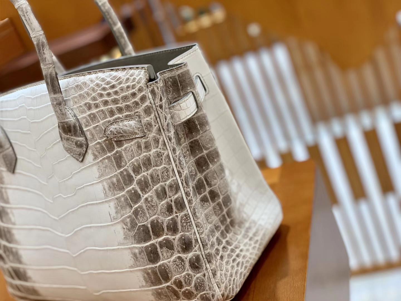 Hermès(爱马仕)Birkin 铂金包 喜马拉雅 浅色  特级品质 一级皮 尼罗鳄鱼皮 银扣 25cm