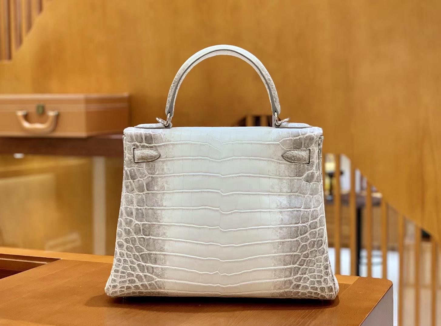 Hermès(爱马仕)Kelly 凯莉包 喜马拉雅 浅色  一级皮 尼罗鳄鱼皮 银扣 28cm