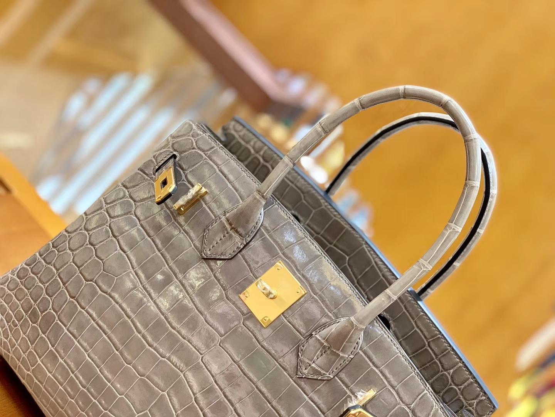 Hermès(爱马仕)Birkin 30cm 斑鸠灰 金扣 一级皮 尼罗鳄鱼皮 臻品级别