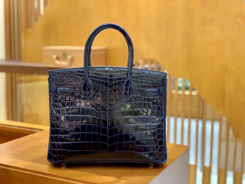 Hermès(爱马仕)Birkin 30cm 午夜蓝 金扣 一级皮 尼罗鳄鱼皮 臻品级别