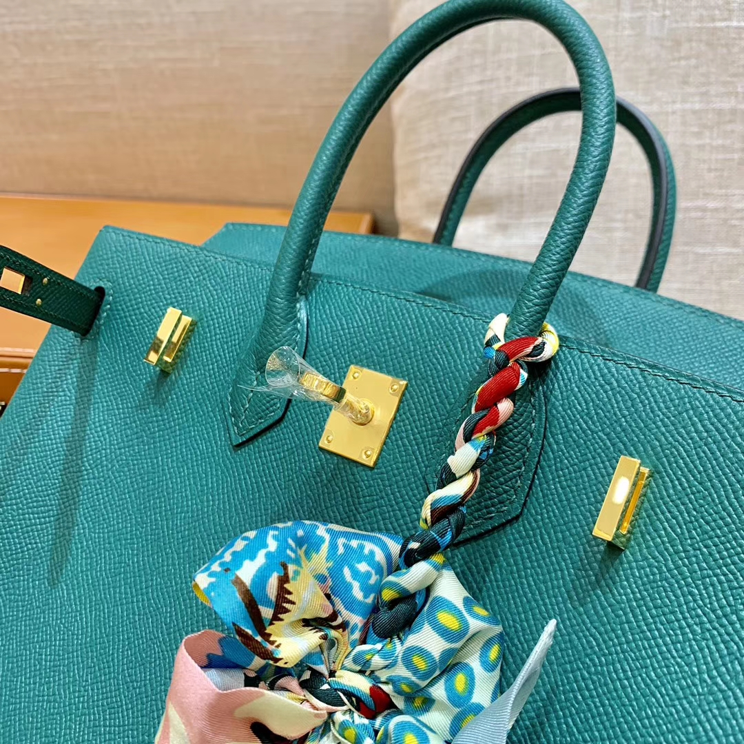 Hermès(爱马仕)铂金包 Birkin 墨绿色 掌纹牛皮 细节图