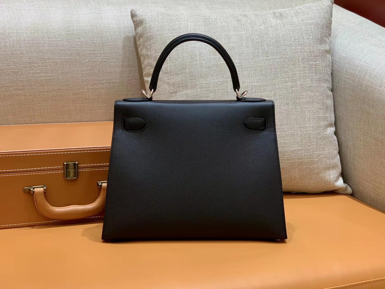 Hermès(爱马仕)Kelly 凯莉包 经典黑银 28cm 现货供应 全手工缝制
