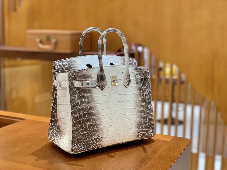 Hermès(爱马仕)Birkin 铂金包 喜马拉雅 深色  特级品质 一级皮 尼罗鳄鱼皮 银扣 25cm
