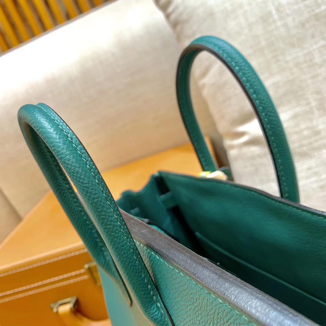 Hermès(爱马仕)Birkin 铂金包 森林绿 掌纹牛皮 金扣 30cm 高订版本