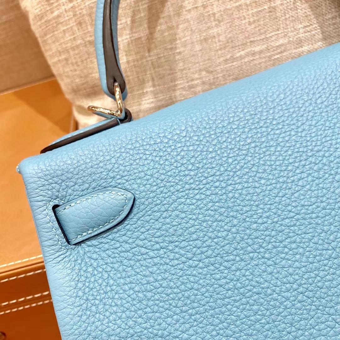 Hermès(爱马仕)Kelly 凯莉包 小牛皮 北方蓝 28cm 现货