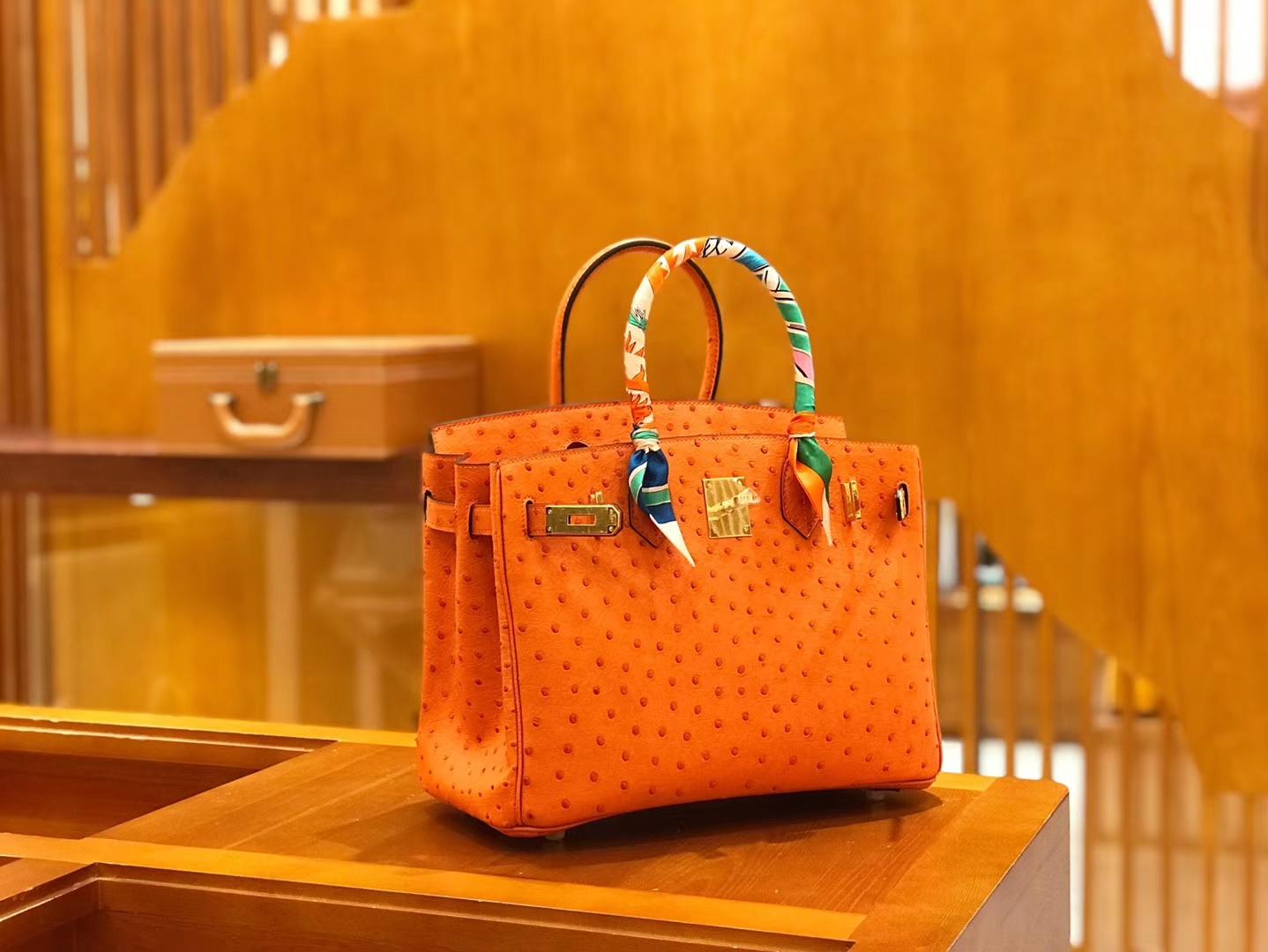 Hermès(爱马仕)Birkin 30cm 经典橙 鸵鸟皮 全手工缝制