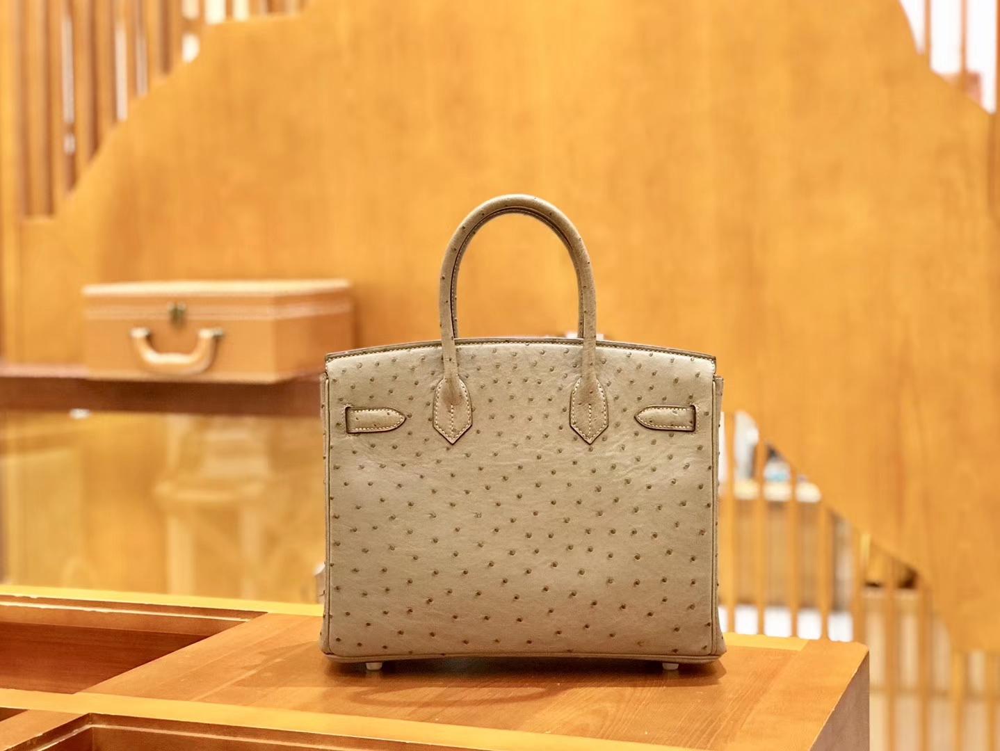 Hermès(爱马仕)Birkin 30cm 大象灰 金扣 鸵鸟皮 全手工缝制 现货
