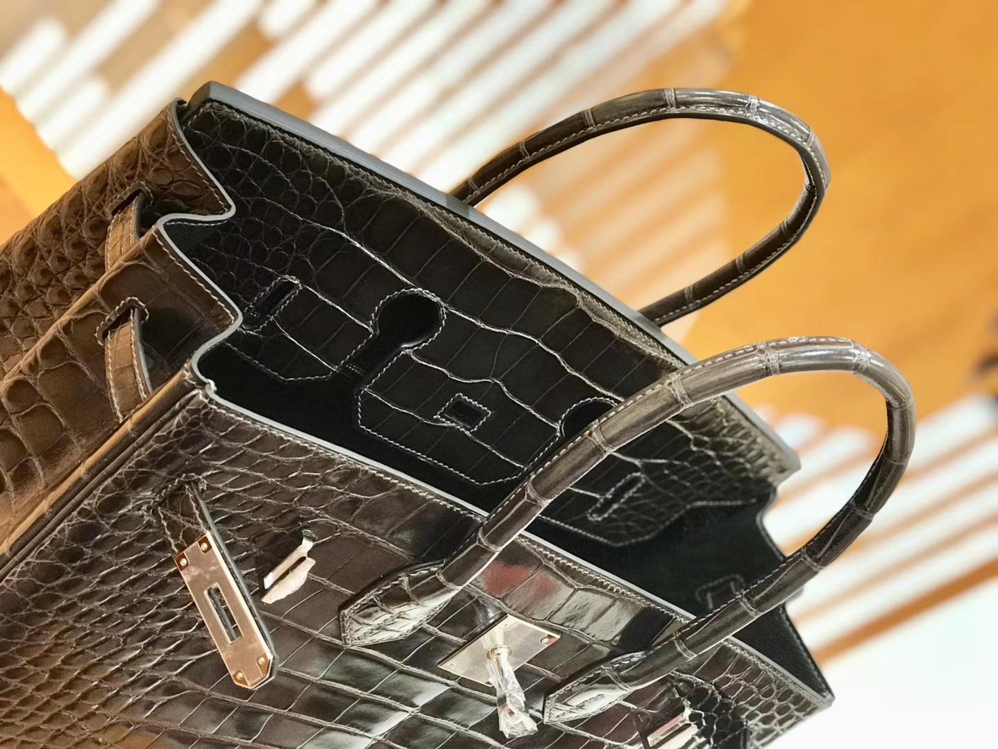 Hermès(爱马仕)Birkin 35cm 美洲鳄鱼 锡器灰