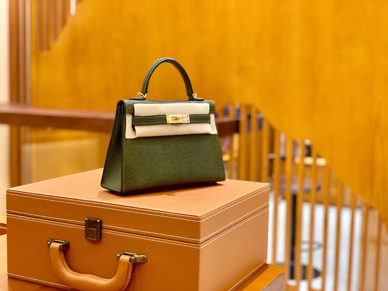 Hermès(爱马仕)迷你2代 19cm 橄榄绿 金扣 蜥蜴皮 全手工缝制