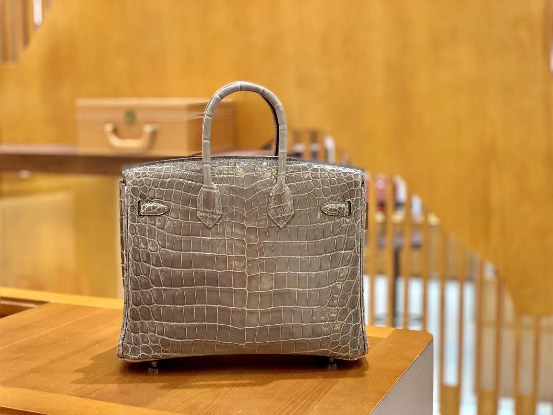 Hermès(爱马仕)Birkin 25cm 尼罗鳄鱼皮 斑鸠灰 银扣 全手工缝制