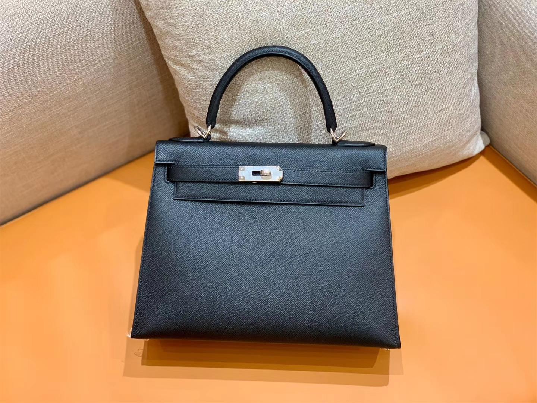 Hermès(爱马仕)Kelly 凯莉包 掌纹牛皮 经典黑 银扣 28cm 全手工 现货