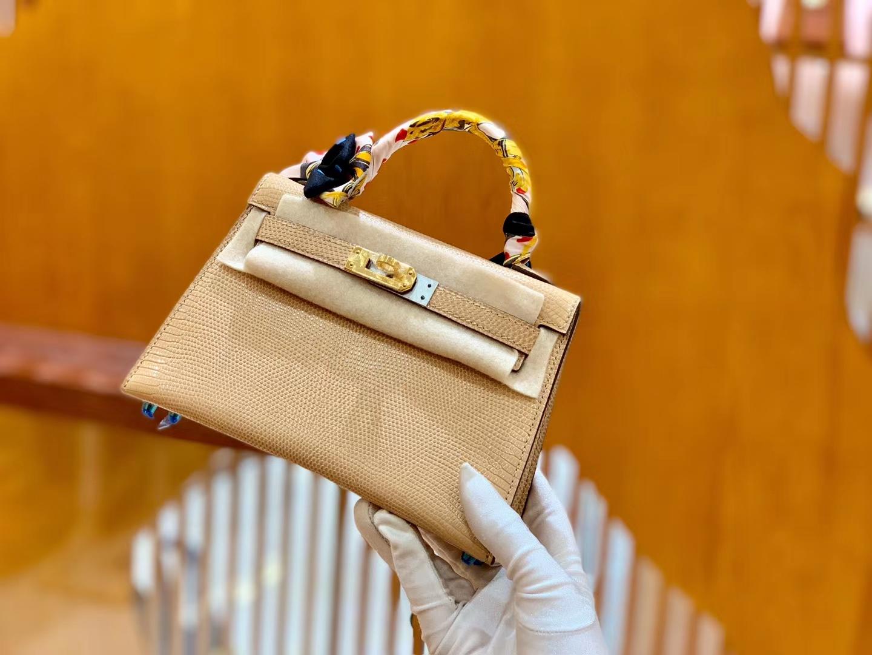 Hermès(爱马仕)迷你2代 19cm 裸粉色 金扣 蜥蜴皮 全手工缝制