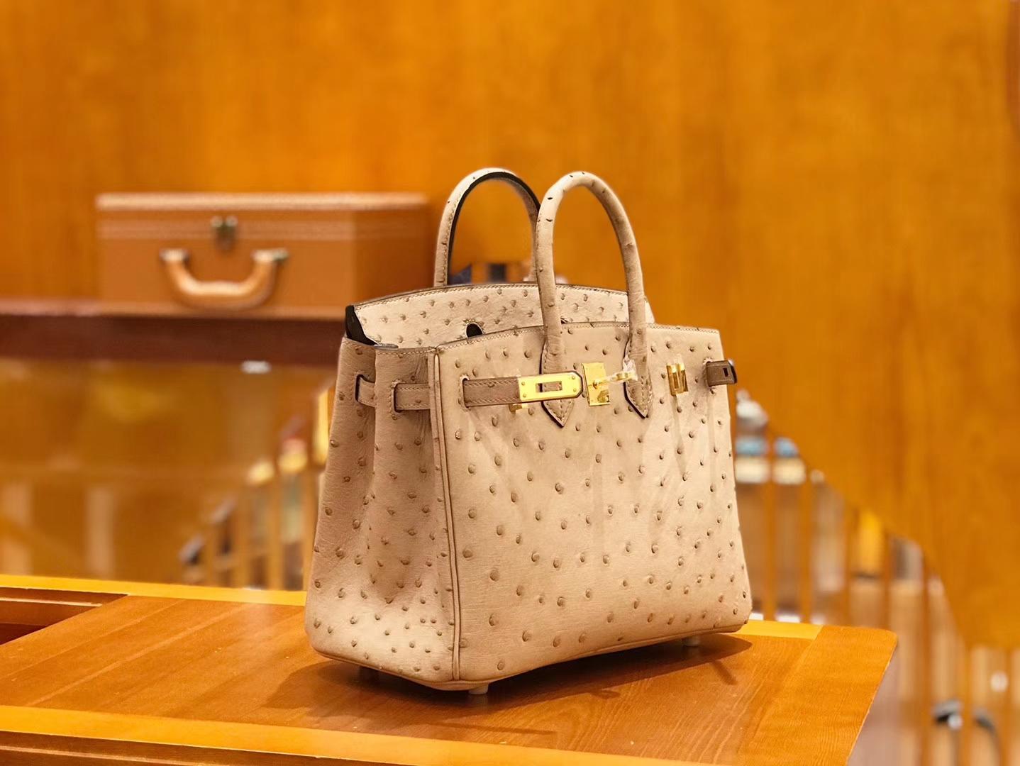 Hermès(爱马仕)Birkin 25cm 鸵鸟皮 奶粉色 全手工缝制 现货