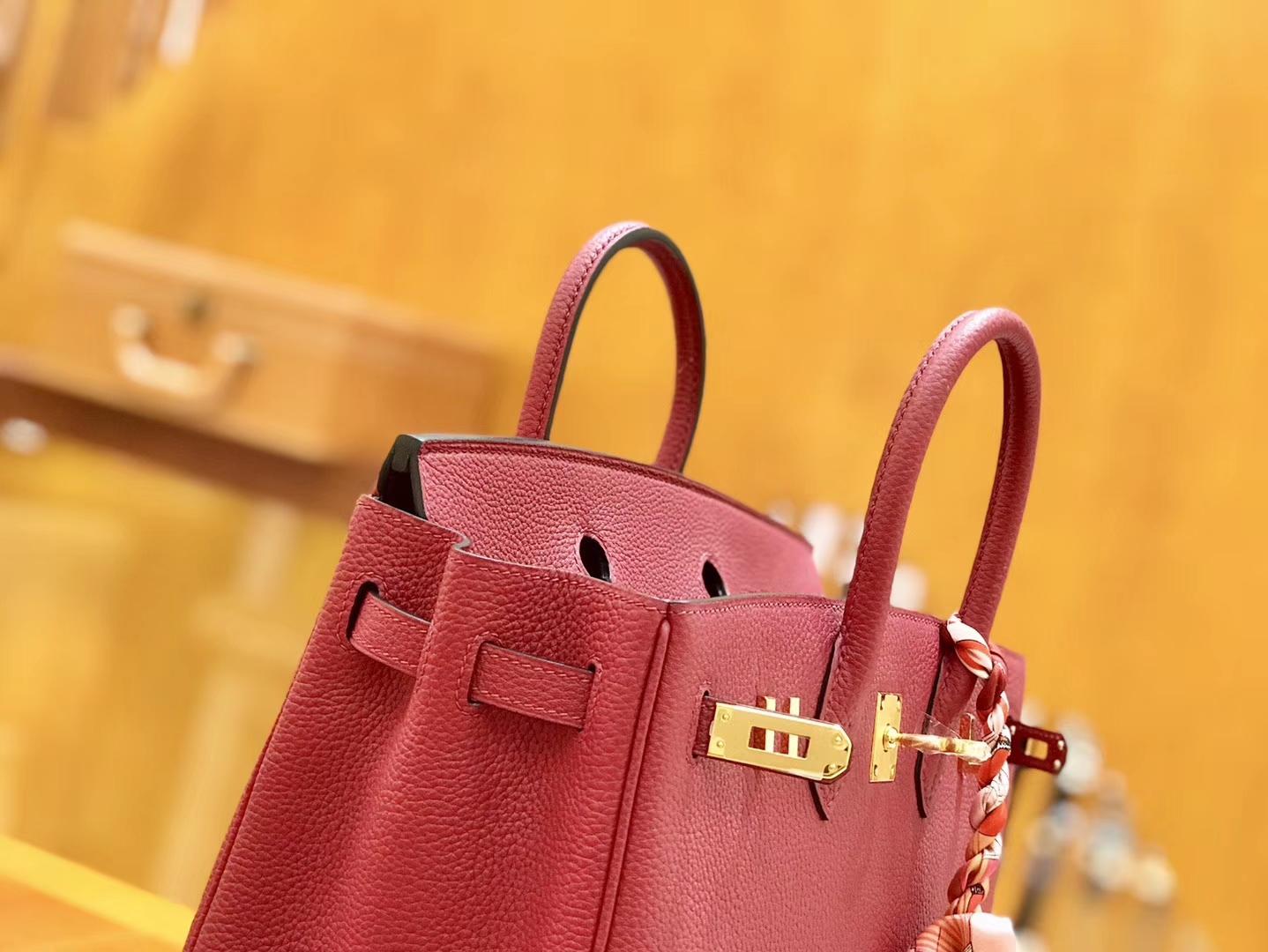Hermès(爱马仕)Birkin 25cm 石榴红 金扣 全手工缝制