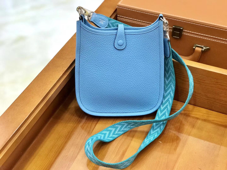 Hermès(爱马仕)Evelyne 伊芙琳 16cm 北方蓝 全手工缝制