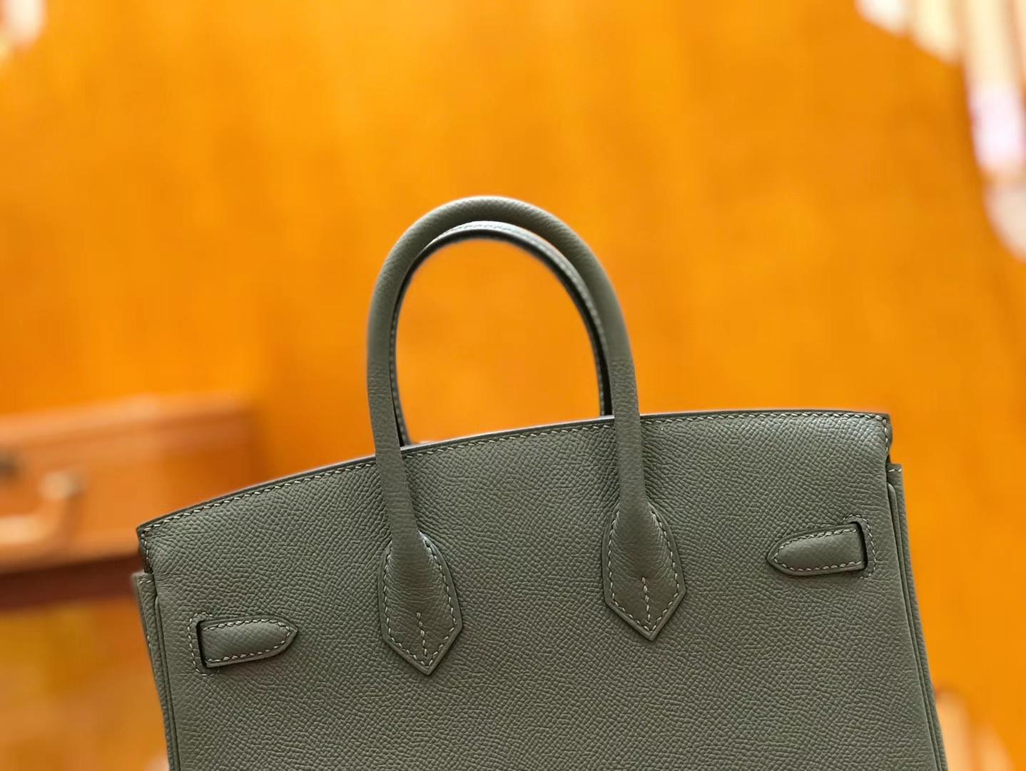 Hermès(爱马仕)Birkin 25cm 杏仁绿 金扣 掌纹牛皮 全手工缝制