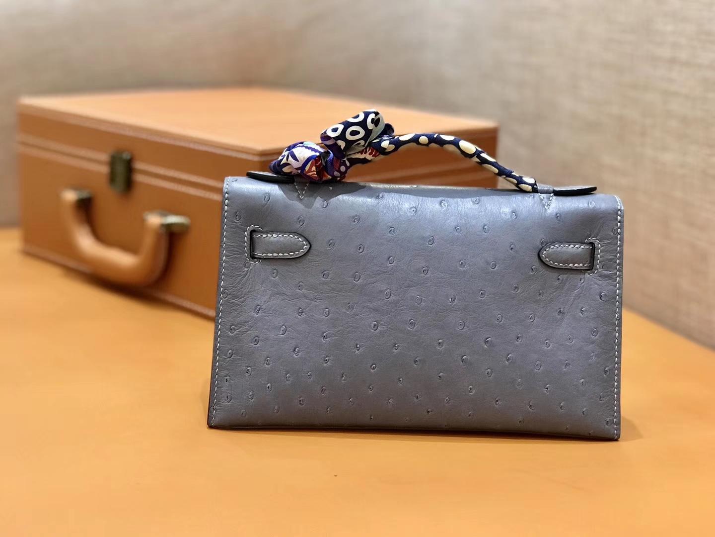 Hermès(爱马仕)MiniKelly 迷你凯莉 冰川蓝 鸵鸟皮 1代 金扣 22cm