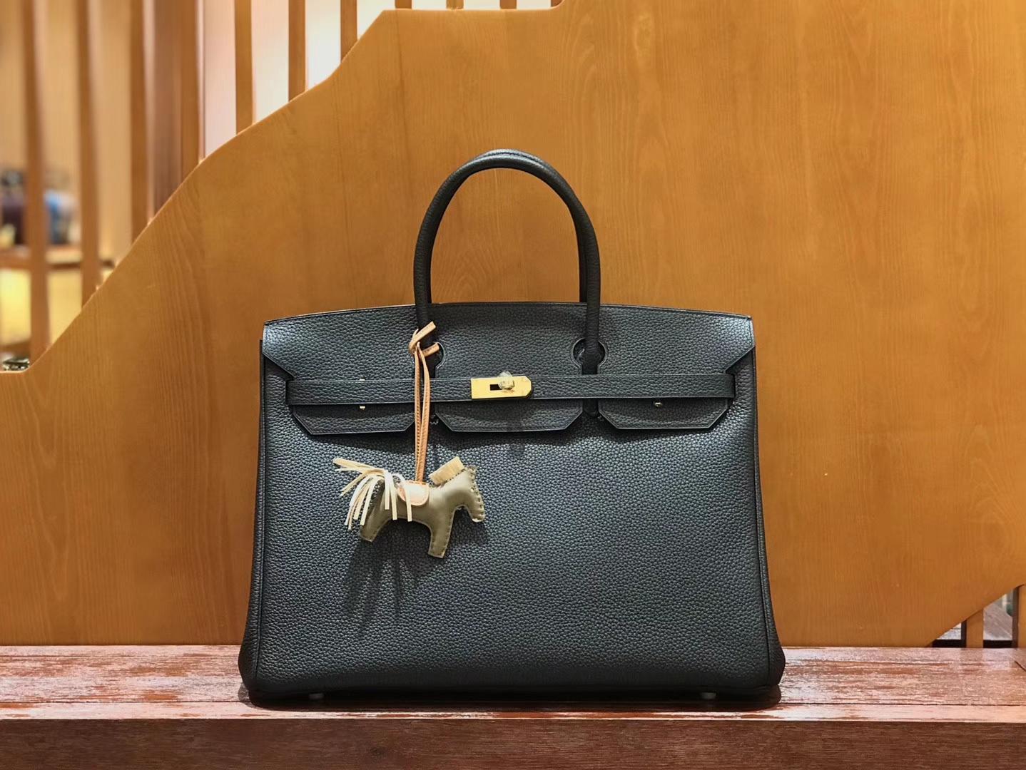 Hermès(爱马仕)Birkin 铂金包 经典黑 小牛皮 银扣 40cm 男士首选