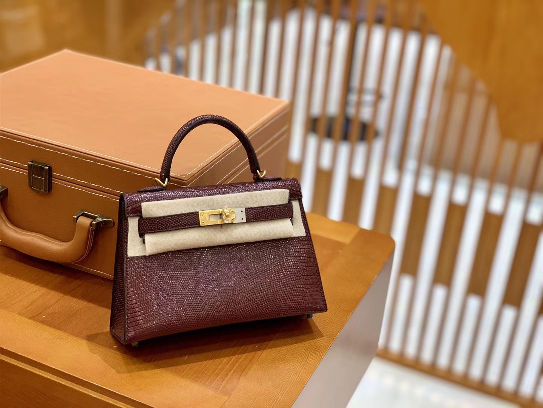Hermès(爱马仕)迷你2代 19cm 波尔多酒红 金扣 蜥蜴皮 全手工缝制