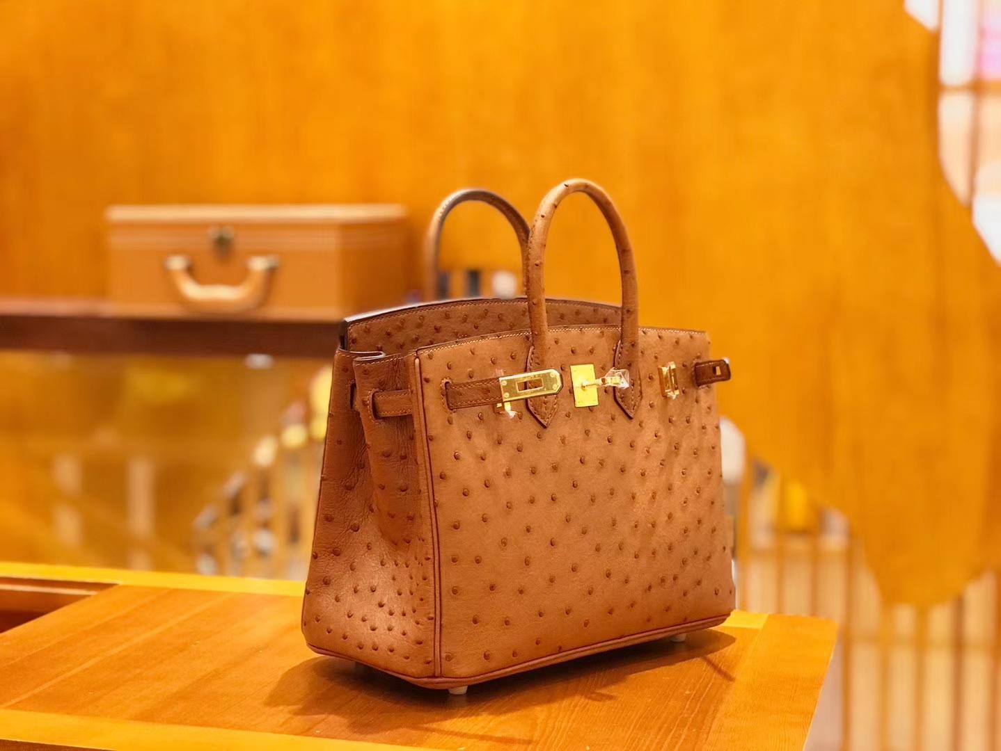 Hermès(爱马仕)Birkin 25cm 鸵鸟皮 金棕色 全手工缝制 现货