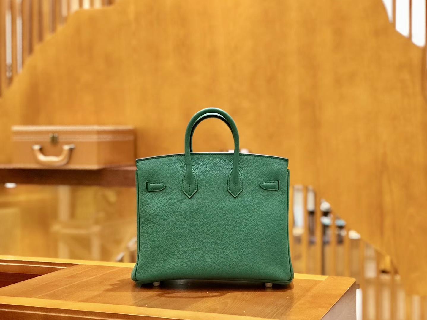 Hermès(爱马仕)Birkin 25cm 丝绒绿 金扣 全手工缝制