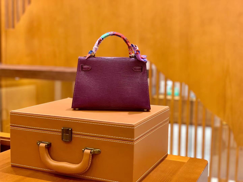 Hermès(爱马仕)迷你2代 19cm 海葵紫 金扣 蜥蜴皮 全手工缝制