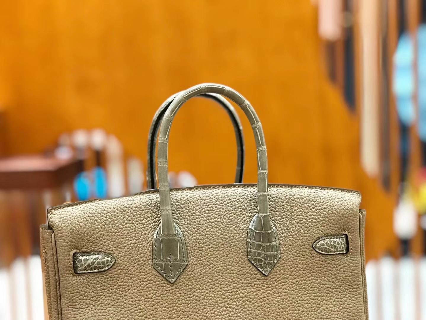 Hermès(爱马仕)Birkin 25cm Touch 斑鸠灰 鳄鱼皮拼牛皮 全手工缝制