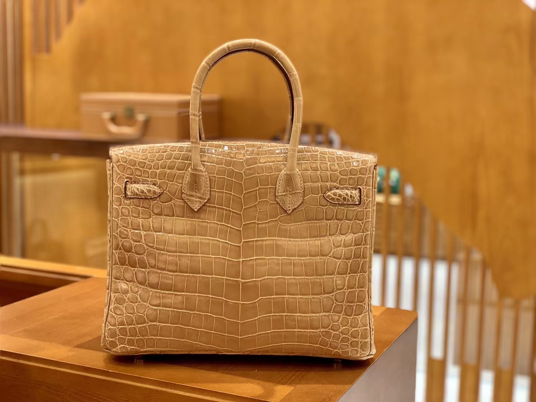 Hermès(爱马仕)Birkin 30cm 尼罗鳄鱼皮 奶茶色 金扣 全手工缝制