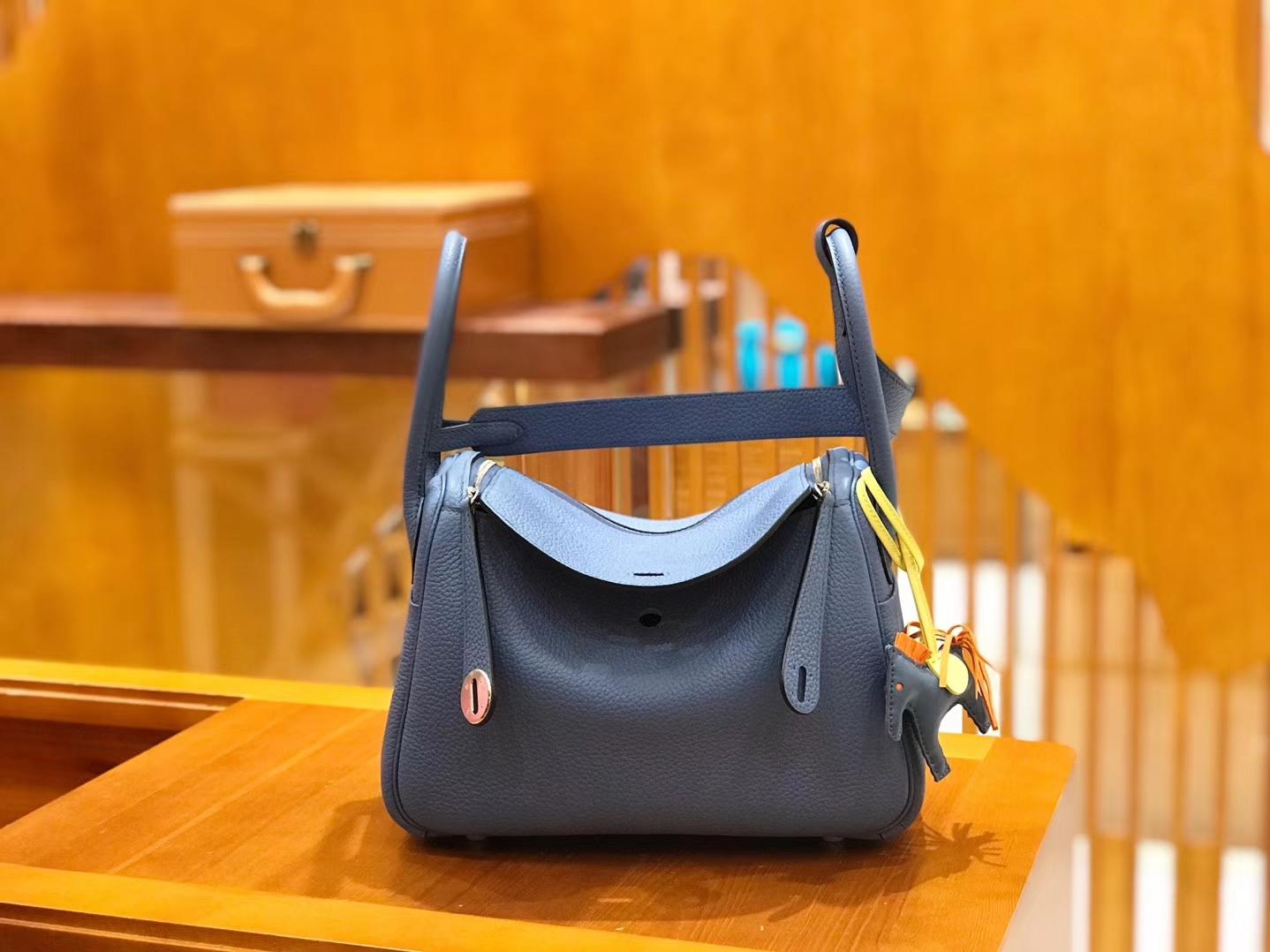 Hermès(爱马仕)Lindy 琳迪包 玛瑙蓝 银扣 26cm