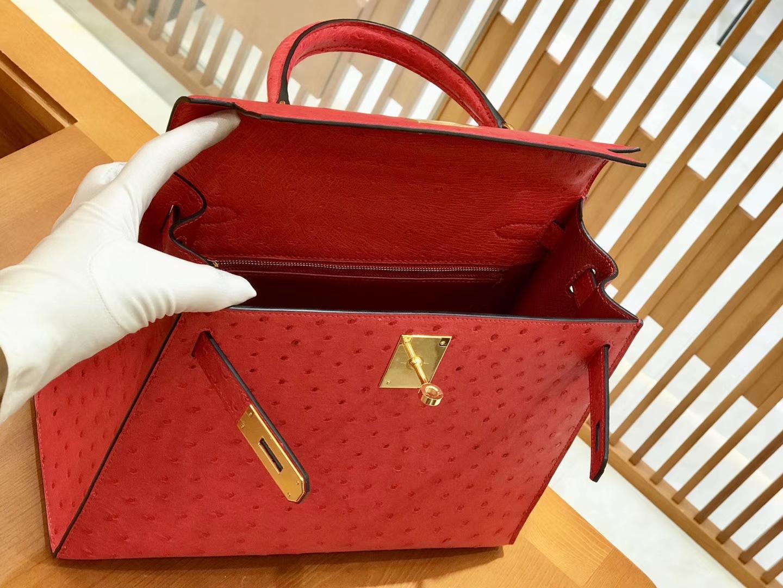 Hermès(爱马仕)Kelly 28cm 爱心红 金扣 鸵鸟皮 全手工缝制