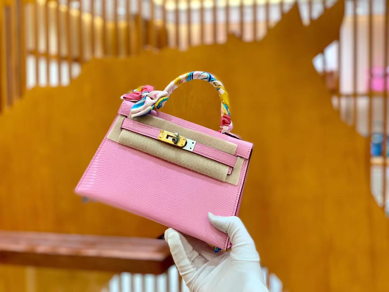 Hermès(爱马仕)迷你2代 19cm 樱花粉 金扣 蜥蜴皮 全手工缝制
