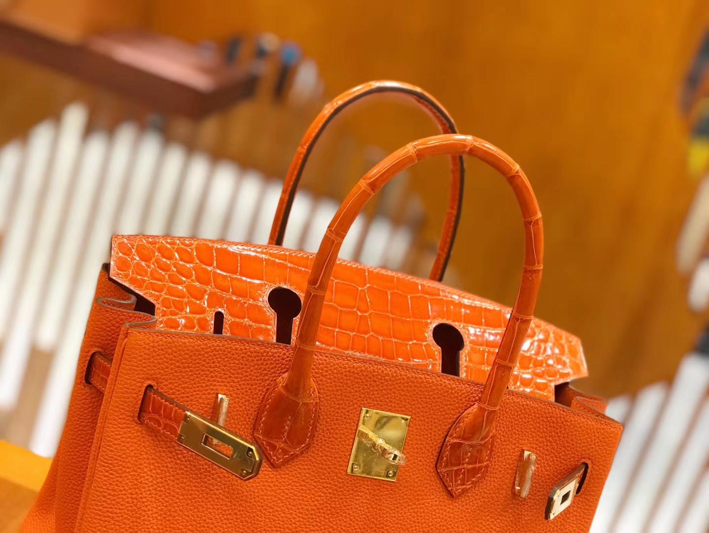 Hermès(爱马仕)Birkin 30cm Touch 火焰橙 鳄鱼皮拼牛皮 全手工缝制