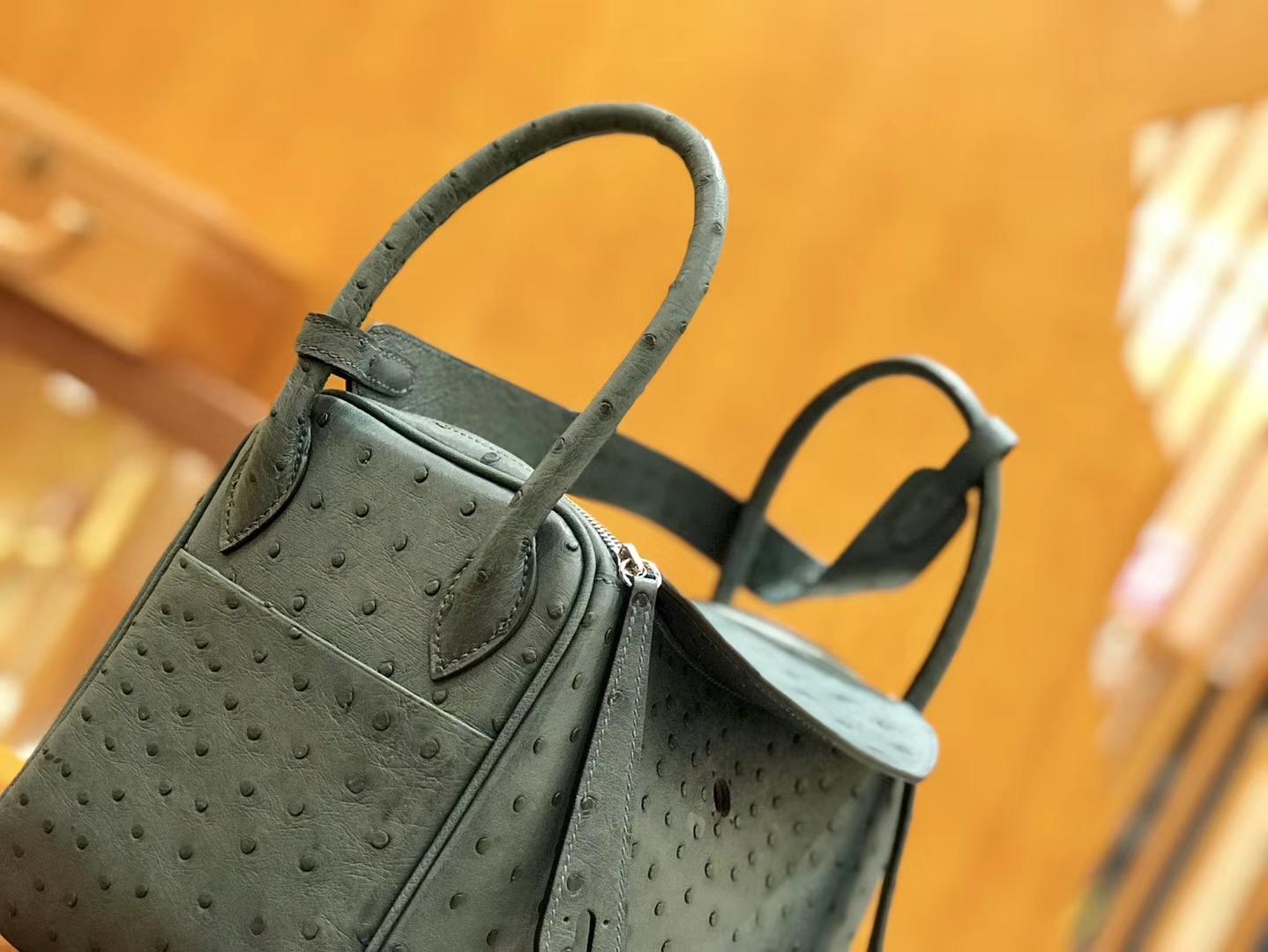 Hermès(爱马仕)Lindy 26cm 松柏绿 银扣 鸵鸟皮 全手工缝制