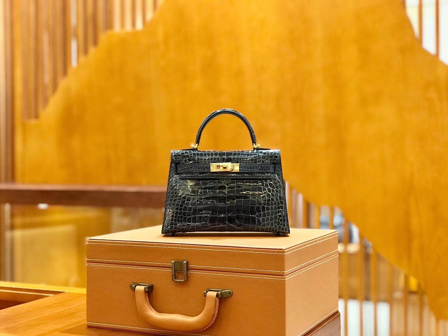 Hermès(爱马仕)新增现货 松柏绿 迷你2代 美洲鳄鱼皮