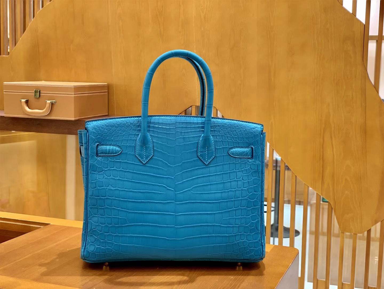 Hermès(爱马仕)Birkin 30cm 雾面 尼罗鳄鱼皮 伊兹密迩蓝 金扣 全手工缝制