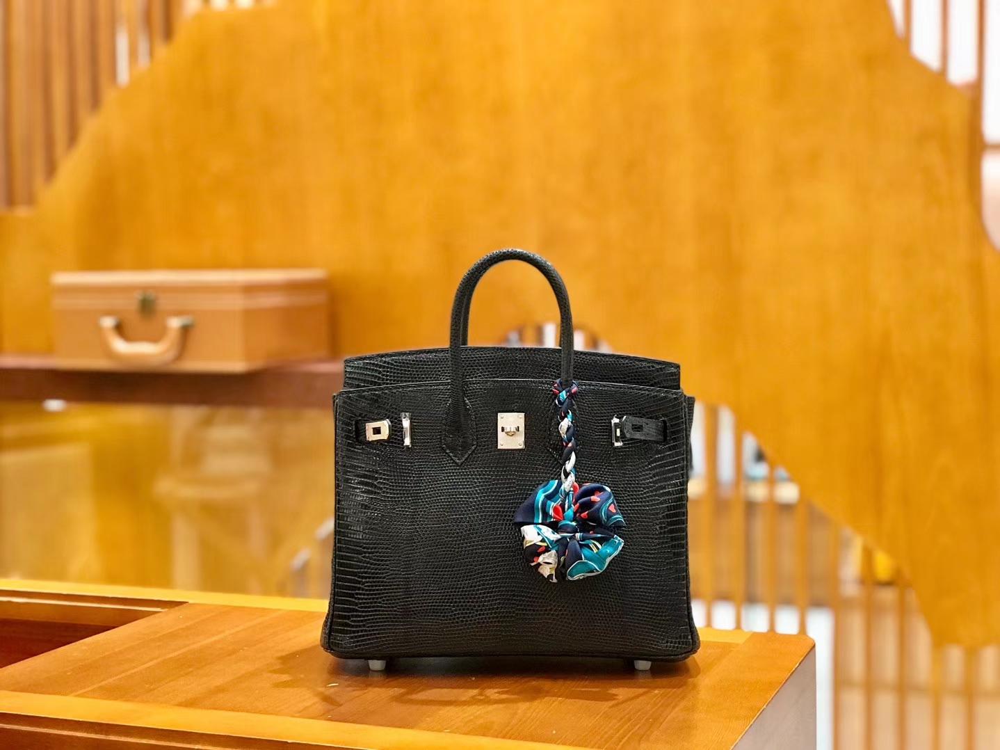Hermès(爱马仕)Birkin 25cm 蜥蜴皮 经典黑 全手工缝制 现货