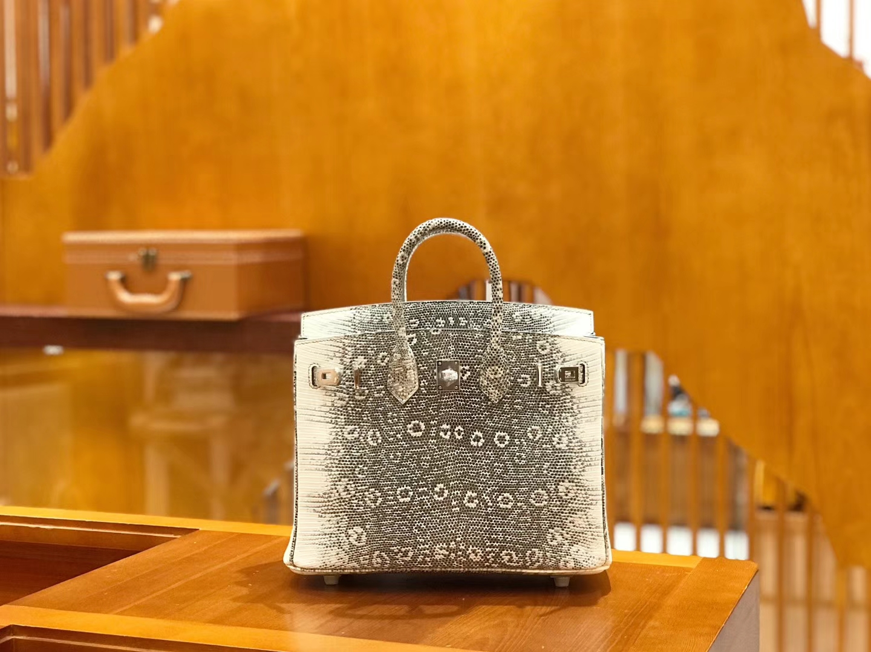 Hermès(爱马仕)Birkin 25cm 原色 雪花蜥蜴皮 全手工缝制 稀有 现货