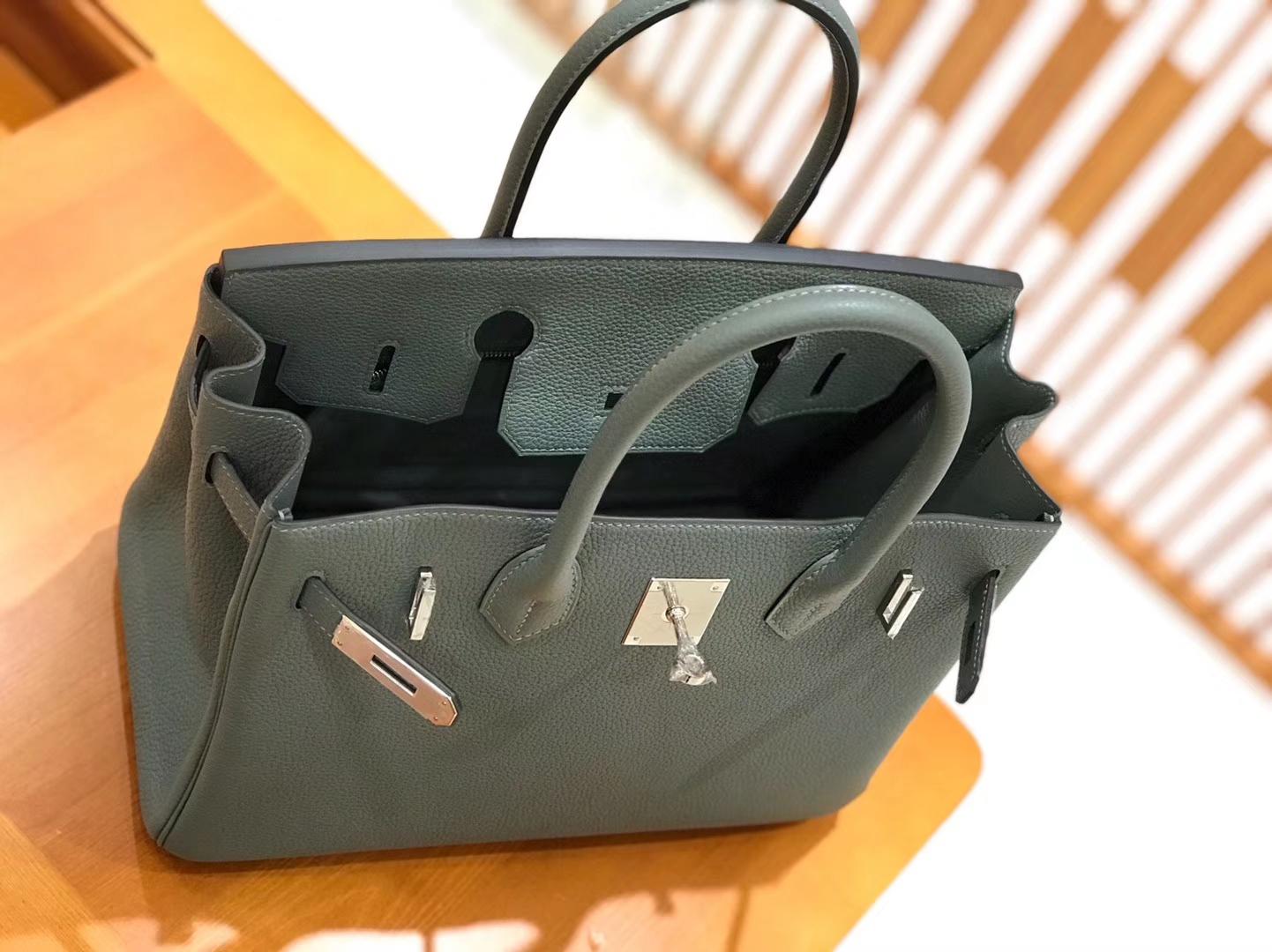 Hermès(爱马仕)Birkin 30cm togo牛皮 杏仁绿 银扣 全手工缝制
