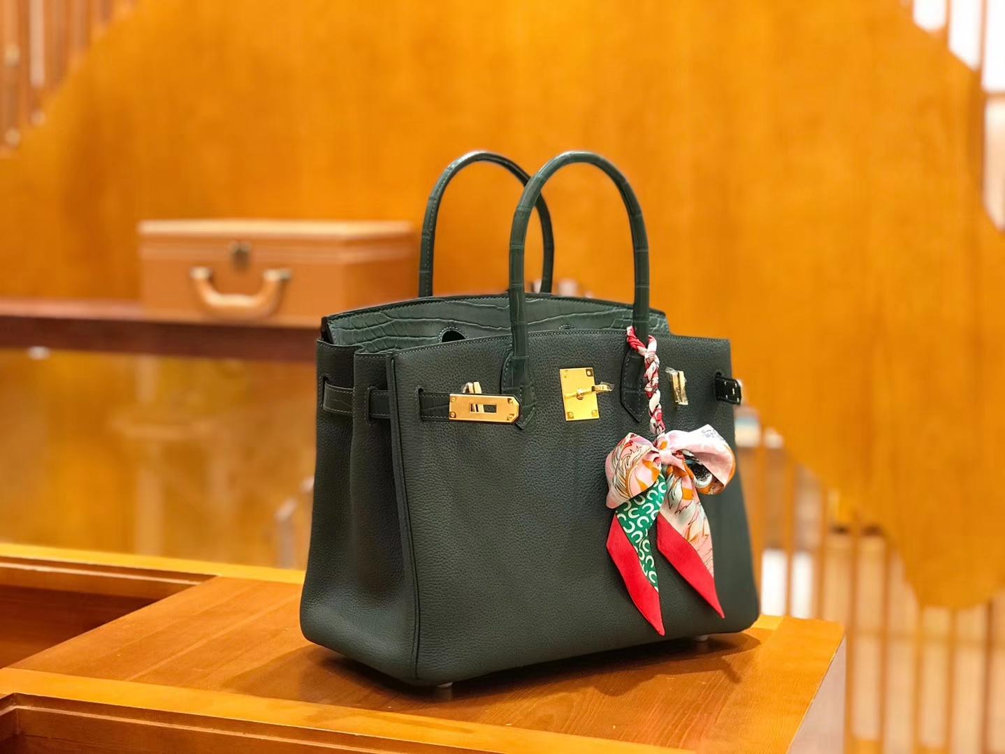Hermès(爱马仕)Birkin 30cm Touch 松柏绿 鳄鱼皮拼牛皮 全手工缝制